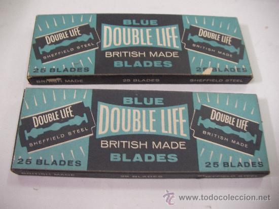 ANTIGUO LOTE DE HOJILLAS DOUBLE LIFE BLUE BLADES 50 UNIDADES EN SUS CAJAS NUEVAS GRAN BRETAÑA (Antigüedades - Técnicas - Barbería - Hojas de Afeitar Antiguas)