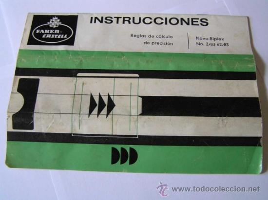 Antigüedades: INSTRUCCIONES REGLA DE CALCULO DE PRECISION NOVO-BIPLEX No. 2/83 62/83 SLIDE RULE RECHENSCHIEBER - Foto 24 - 33570762