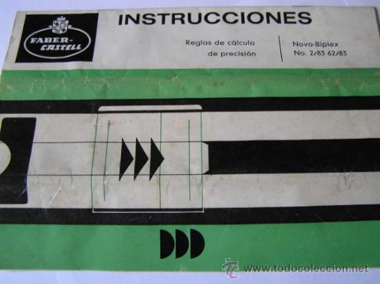 Antigüedades: INSTRUCCIONES REGLA DE CALCULO DE PRECISION NOVO-BIPLEX No. 2/83 62/83 SLIDE RULE RECHENSCHIEBER - Foto 8 - 33570762