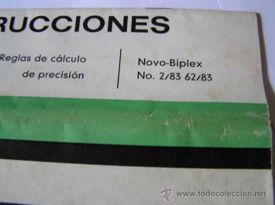 Antigüedades: INSTRUCCIONES REGLA DE CALCULO DE PRECISION NOVO-BIPLEX No. 2/83 62/83 SLIDE RULE RECHENSCHIEBER - Foto 4 - 33570762