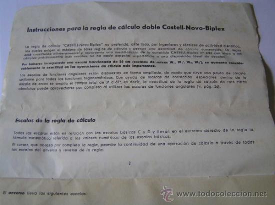 Antigüedades: INSTRUCCIONES REGLA DE CALCULO DE PRECISION NOVO-BIPLEX No. 2/83 62/83 SLIDE RULE RECHENSCHIEBER - Foto 11 - 33570762