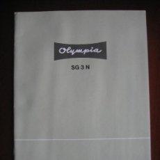 Antigüedades: MANUAL DE INSTRUCCIONES MÁQUINA DE ESCRIBIR OLYMPIA MODELO SG3N. Lote 33790421
