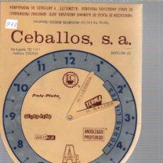 Antigüedades: HORARIO - HORAS LIBRES DE CEBALLOS BARCELONA METALICO -RELOJ. Lote 33985550
