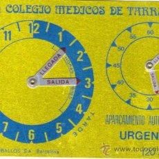 Antigüedades: HORARIO - HORAS APARCAMIENTO CEBALLOS BARCELONA METALICO -RELOJ -ILMO. COLEGIO MEDICOS TARRAGONA. Lote 33985591