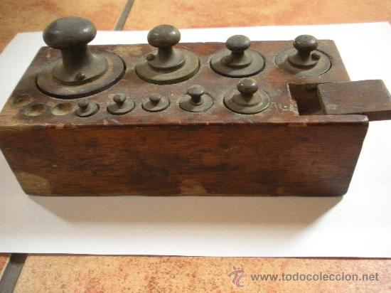 Antigüedades: taco de pesas antiguo, lo que se ve, pesa mayor 500 gramos - Foto 2 - 34078474