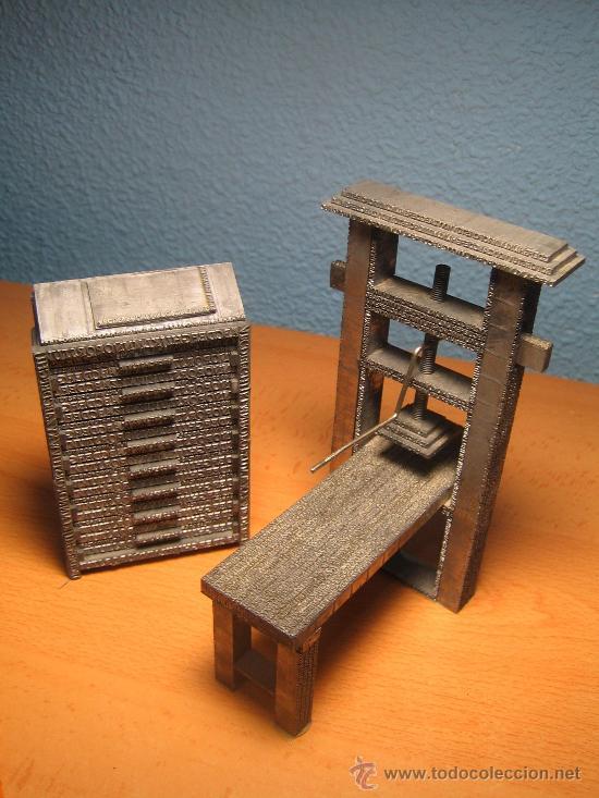 IMPRENTA, MAQUETAS DE PLOMO PRENSA GUTENBERG Y CHIBALETE - LOTE ESPECIAL (Antigüedades - Técnicas - Herramientas Profesionales - Imprenta)