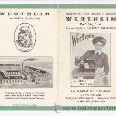 Antigüedades: PROPAGANDA DE MAQUINAS DE COSER WERTHEIM. Lote 34234209