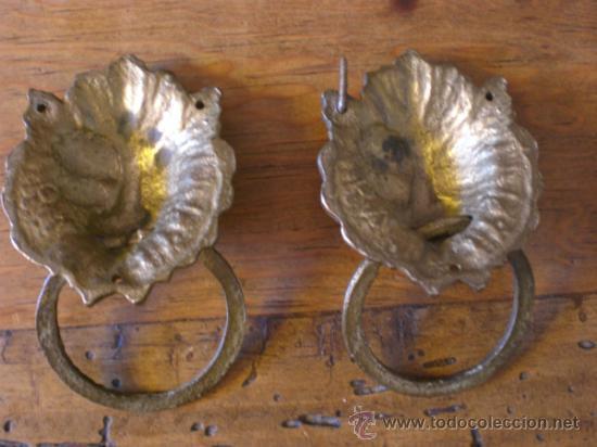 Antigüedades: TIRADORES BRONCE (CABEZA DE LEÓN) PARA MUEBLES -ANTIGUOS- - Foto 2 - 34263330