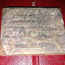 Antigüedades: ANTIGUO SELLO IMPRENTA. ESTE BRANDY PROCEDE DEL VIÑEDO JEREZANO, LO DESTILA Y AÑEJA (FIRMA). . Lote 34509742