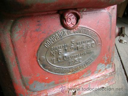 Antigüedades: Antiguo contador de gas de Catalana de Gas - MARCA SIGMA - Foto 2 - 34544944