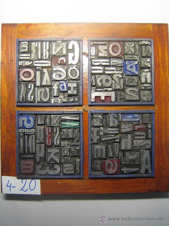 IMPRENTA CUADRO TIPOGRÁFICO 20X20 CM - REFERENCIA 20-4 (Antigüedades - Técnicas - Herramientas Profesionales - Imprenta)