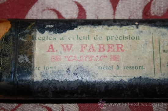 Antigüedades: PAREJA DE REGLAS DE CÁLCULO A. W. FABER 'CASTELL' - FINALES S.XIX - MADERA Y CELULOIDE - FUNDAS - Foto 16 - 34623177