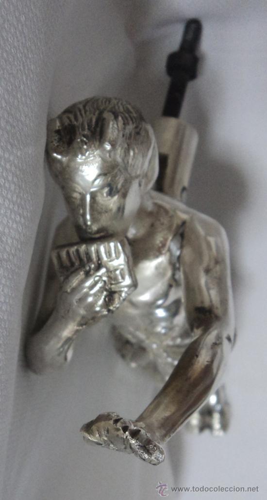 Antigüedades: ALDABA LLAMADOR DE PUERTA SATIRO FAUNO TOCANDO INSTRUMENTO MUSICAL 23 CM DE LARGO - Foto 9 - 34694319