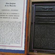 Antigüedades: LIBRO IMPRENTA EL QUIJOTE - EDICIÓN LIMITADA 55 PIEZAS - VER FOTOS PROCESO ELABORACIÓN. Lote 54405004