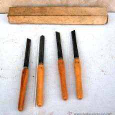 Antigüedades: JUEGO DE 4 , GUBIAS Y FORMONES ANTIGUAS, TALLAR. Lote 35058714