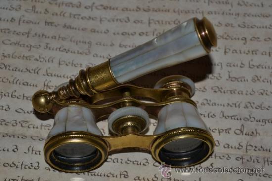 Antigüedades: MAGNIFICOS PRISMATICOS CON MANGO EXTENSIBLE DE MADREPERLA,NACAR,S.XIX - Foto 4 - 34963731