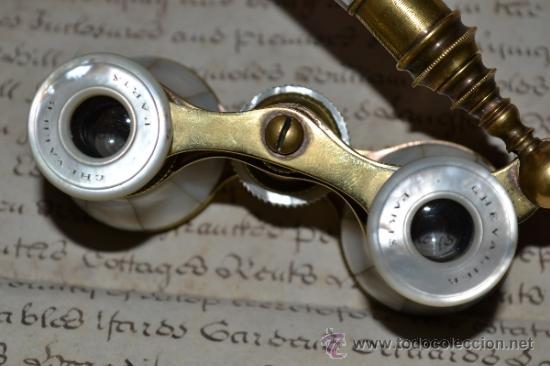 Antigüedades: MAGNIFICOS PRISMATICOS CON MANGO EXTENSIBLE DE MADREPERLA,NACAR,S.XIX - Foto 3 - 34963731