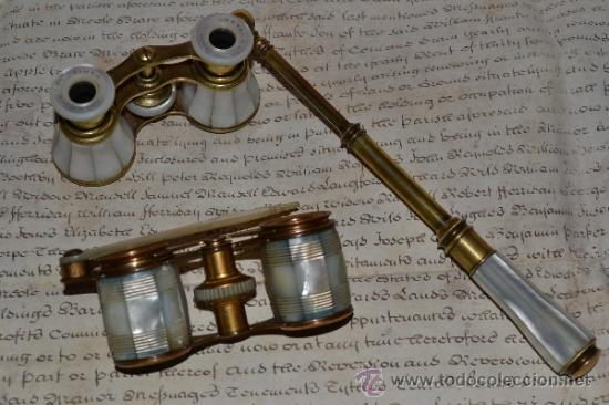 Antigüedades: MAGNIFICOS PRISMATICOS CON MANGO EXTENSIBLE DE MADREPERLA,NACAR,S.XIX - Foto 8 - 34963731