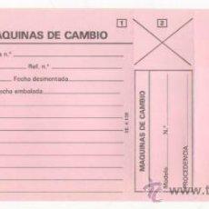 Antigüedades: LOTE DE 5 IMPRESOS DE MÁQUINAS SIGMA UTILIZADOS PARA MÁQUINAS DE CAMBIO. TAMAÑO 11,5 X 27 CMS.. Lote 35392061