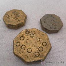Antigüedades: CONJUNTO DE TRES PESAS MALLORQUINAS. SIGLO XIX / XX. . Lote 35345581
