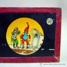 Antigüedades: PLACA DE CRISTAL, DIAPOSITIVA CON DIBUJO, GNOMOS, Nº 2, GBN, BING, ALEMANIA, SIGLO XIX. Lote 35497247