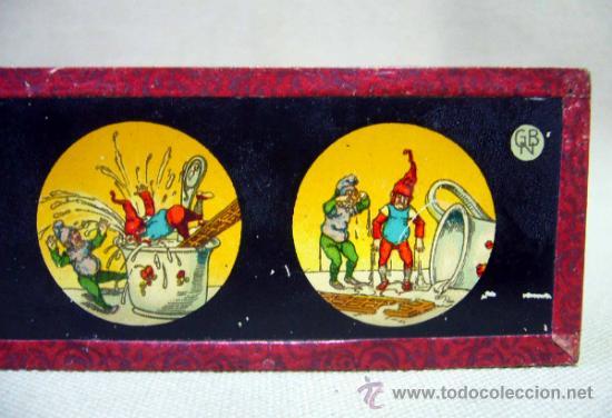 Antigüedades: PLACA DE CRISTAL, DIAPOSITIVA CON DIBUJO, GNOMOS, Nº 2, GBN, BING, ALEMANIA, SIGLO XIX - Foto 5 - 35497247