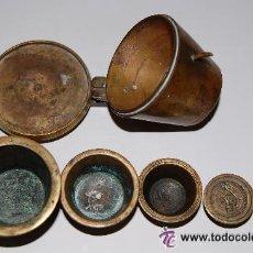 Antigüedades: PONDERAL DE VASOS COMPLETO. ANTIGUO SISTEMA DE PESAS. Lote 35527906