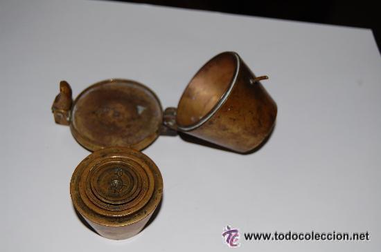 Antigüedades: PONDERAL DE VASOS COMPLETO. ANTIGUO SISTEMA DE PESAS - Foto 4 - 35527906