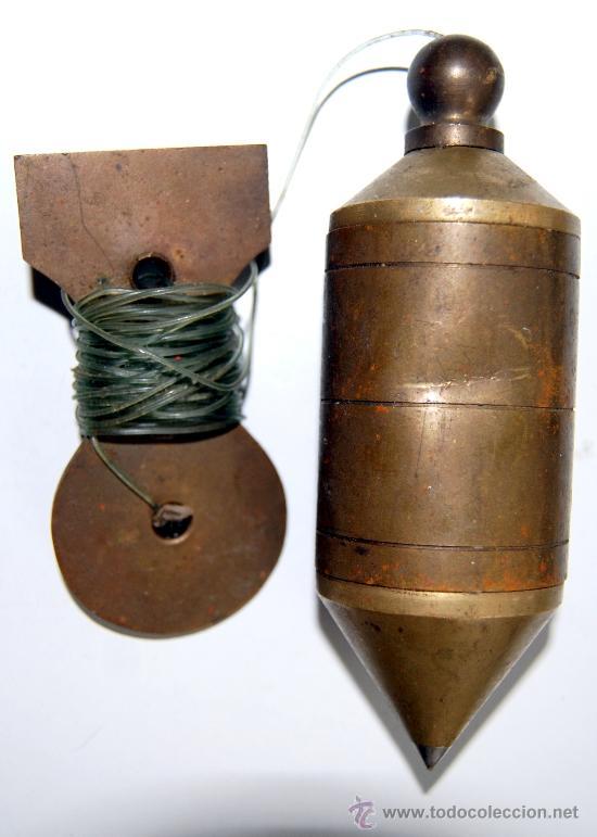ANTIGUA PLOMADA DE BRONCE DE ALBAÑIL HERRAMIENTA (Antigüedades - Técnicas - Herramientas Profesionales - Albañileria)