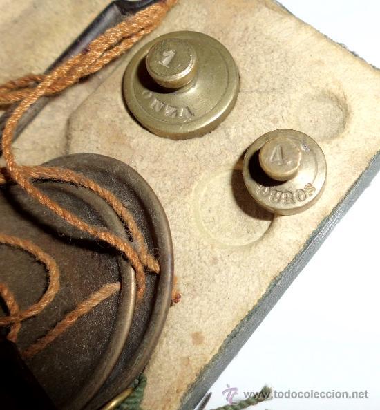Antigüedades: azafranero, kilatero de forja con estuche funda verde, onza , duro - Foto 6 - 35883231