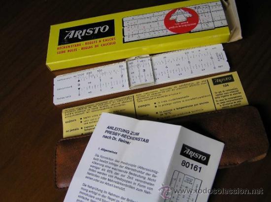 Antigüedades: REGLA DE CALCULO ARISTO 80161USO EN MEDICINA EN OFTALMOLOGÍA CALCULADORA SLIDE RULE RECHENSCHIEBER - Foto 6 - 35890291