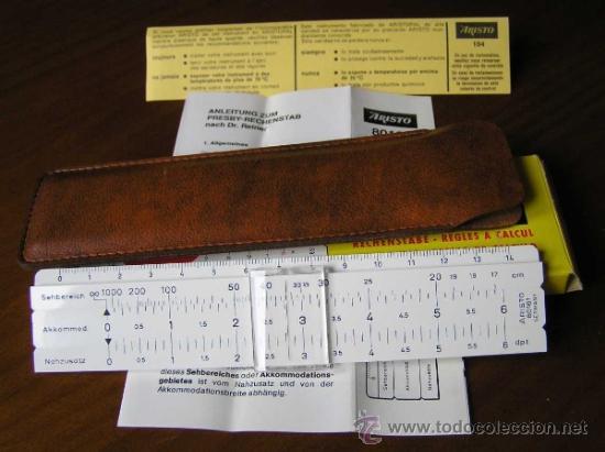 Antigüedades: REGLA DE CALCULO ARISTO 80161USO EN MEDICINA EN OFTALMOLOGÍA CALCULADORA SLIDE RULE RECHENSCHIEBER - Foto 29 - 35890291