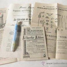 Antigüedades: 7 FOLLETOS PUBLICITARIOS DE MAQUINARIA AGRICOLA VINICOLAS - PRINCIPIOS S XX. Lote 36039803