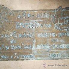 Antigüedades: PLACA DE BRONCE CONMEMORATIVA DEL AÑO 1966 DE BARCO O TREN O LOCOMOTORA 45 KILOS. Lote 35963132