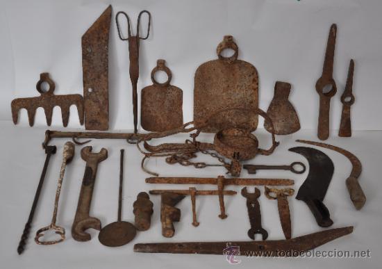 Lote de 24 objetos rusticos y herramientas comprar - Herramientas de campo antiguas ...