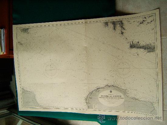 MALTA TO CRETE WITH PORTIONS OF THE COAST OF LIBYA - MEDITERRANEAN - CARTA MARINA 71X110 CM - 1953 (Antigüedades - Antigüedades Técnicas - Marinas y Navales)