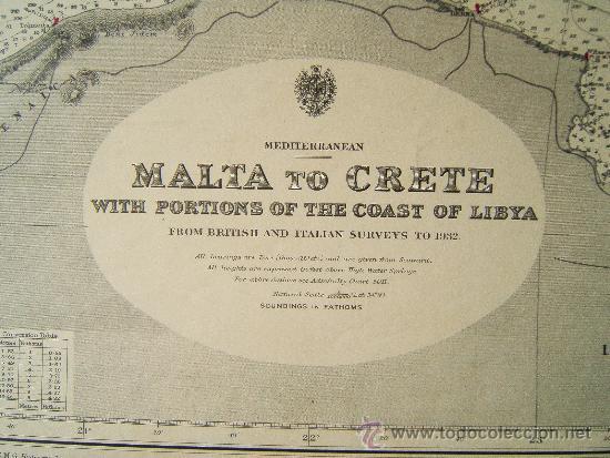 Antigüedades: MALTA TO CRETE WITH PORTIONS OF THE COAST OF LIBYA - MEDITERRANEAN - CARTA MARINA 71X110 CM - 1953 - Foto 2 - 36440692