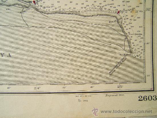 Antigüedades: MALTA TO CRETE WITH PORTIONS OF THE COAST OF LIBYA - MEDITERRANEAN - CARTA MARINA 71X110 CM - 1953 - Foto 3 - 36440692