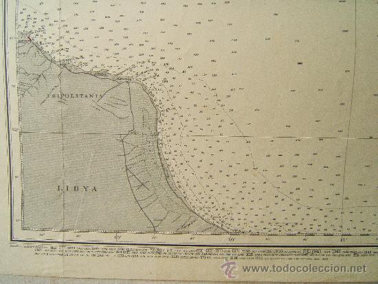 Antigüedades: MALTA TO CRETE WITH PORTIONS OF THE COAST OF LIBYA - MEDITERRANEAN - CARTA MARINA 71X110 CM - 1953 - Foto 5 - 36440692