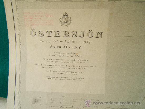 Antigüedades: ÖSTERSJÖN - BALTIC SEA - SWEDISH COAST (SUECIA) - STORA ALÖ - IDÖ - CARTA MARINA -111X75 CM. - 1959. - Foto 2 - 36441712