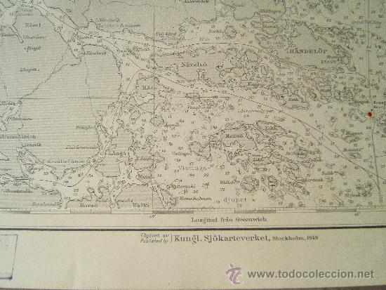 Antigüedades: ÖSTERSJÖN - BALTIC SEA - SWEDISH COAST (SUECIA) - STORA ALÖ - IDÖ - CARTA MARINA -111X75 CM. - 1959. - Foto 4 - 36441712