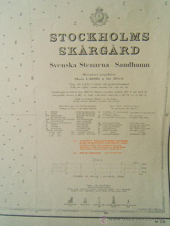 Antigüedades: STOCKHOLMS SKÄRGARD - SVENSKA STENARNA - SANDHAMM - (SUECIA) -CARTA MARINA 71X111 CM -1959. - Foto 2 - 36443239