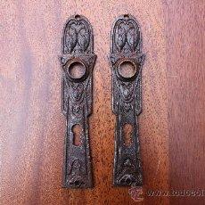 Antigüedades: BOCALLAVE O BOCALLAVES DOBLE CARA PARA PUERTA EN METAL CON RELIEVES . Lote 36726520