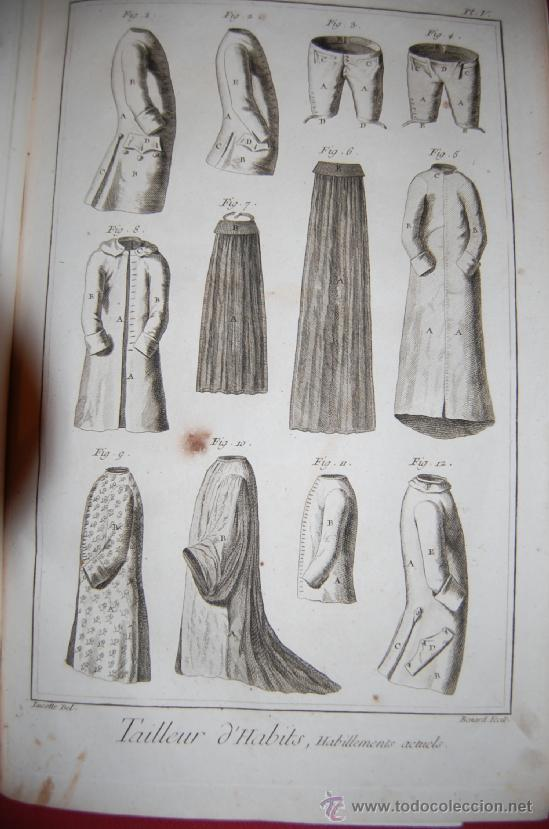 Antigüedades: INTERESANTE ENCICLOPEDIA DIDEROT -vestimenta-siglo XVIII - Foto 6 - 36781044