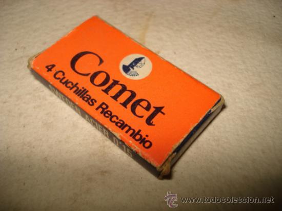 Antigüedades: Antigua Cajita con Hojas de Afeitar Completa COMET 4 Cuchillas de Afeitar Made in Spain - Foto 2 - 36897262