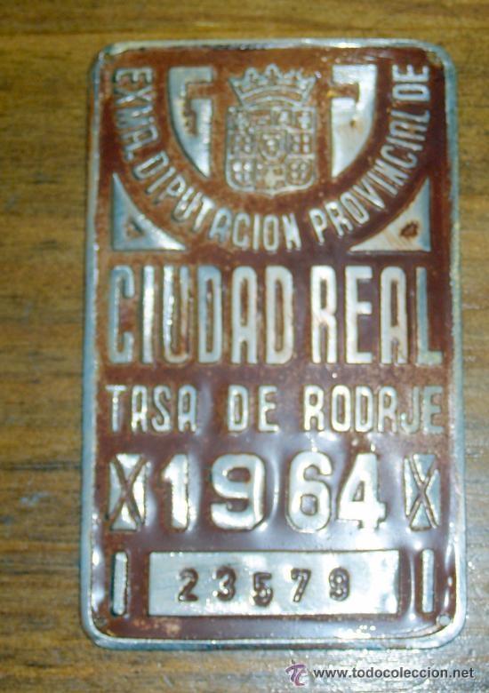 CHAPA TASA DE RODAJE CARRO ,CIUDAD REAL 1964 (Antigüedades - Técnicas - Varios)