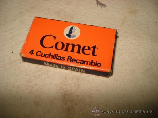 ANTIGUA CAJITA CON HOJAS DE AFEITAR COMPLETA COMET 4 CUCHILLAS DE AFEITAR MADE IN SPAIN (Antigüedades - Técnicas - Barbería - Hojas de Afeitar Antiguas)