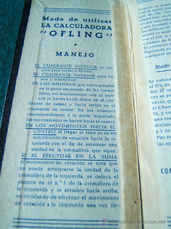 Antigüedades: CALCULADORA MANUAL OFLING - S. BUZZANCA TBS - ABACO - CON MANUAL -15X6X0,50 CM - FINALES SIGLO XIX ? - Foto 6 - 36916475