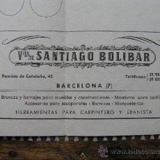 Antigüedades: ANTIGUO CARTEL GUBIAS PARA TALLISTAS. VDA. SANTIAGO BOLÍBAR . BARCELONA. Lote 36933353