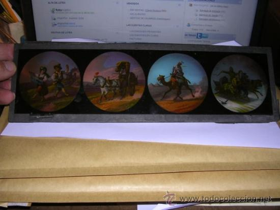 Antigüedades: PRECINE - CRISTAL DE LINTERNA MAGICA 30X9,5 CM. - Foto 2 - 36937977